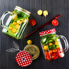Creative European Style Retro Glass Cup Sealed Milk Leakproof Lid Transparent Multi-function 450ml Large Capacity