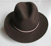 100 Wool Cowboy Hat Exports Grey Men And Women Wool Vintage Wool Traditional Felt Fedora Hat