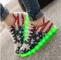 Высокое качество Размер 35-44 8 цветов Мужская световой свет обувь моды для Мужчин USB зарядка Повседневная обувь Черный белый