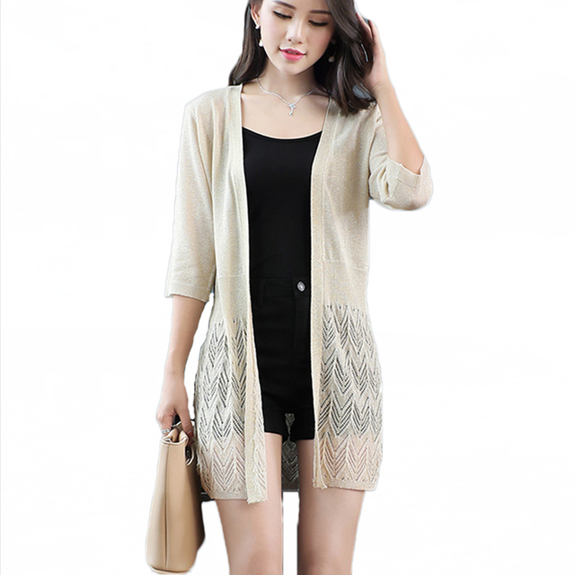 f1a01affab2 Women Crochet Solid Hollow out Long Cardigan Fashion Knitted Brife Cool  Summer Beach Cardigans women Knitwear Outfit Tops