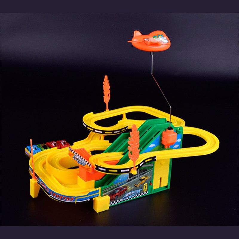 Pista de carreras de coche de la música eléctrica/diy montado parking car toys/b