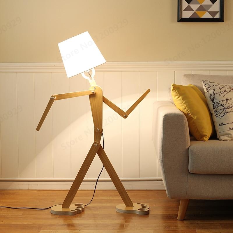 LED Floor Lamps Minimalist Creative Wood Floor Lamp Adjustable The Solid Wood Floor Lamp For Bedroom Living Room Home Lighting-in Floor Lamps from Lights & Lighting    1