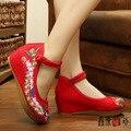 Vintage Embroidery Women Shoes Ankle Wrap Canvas Flats Platforms Phoenix Floral Travel Cotton Shoes Sapato Feminino Size 34-41