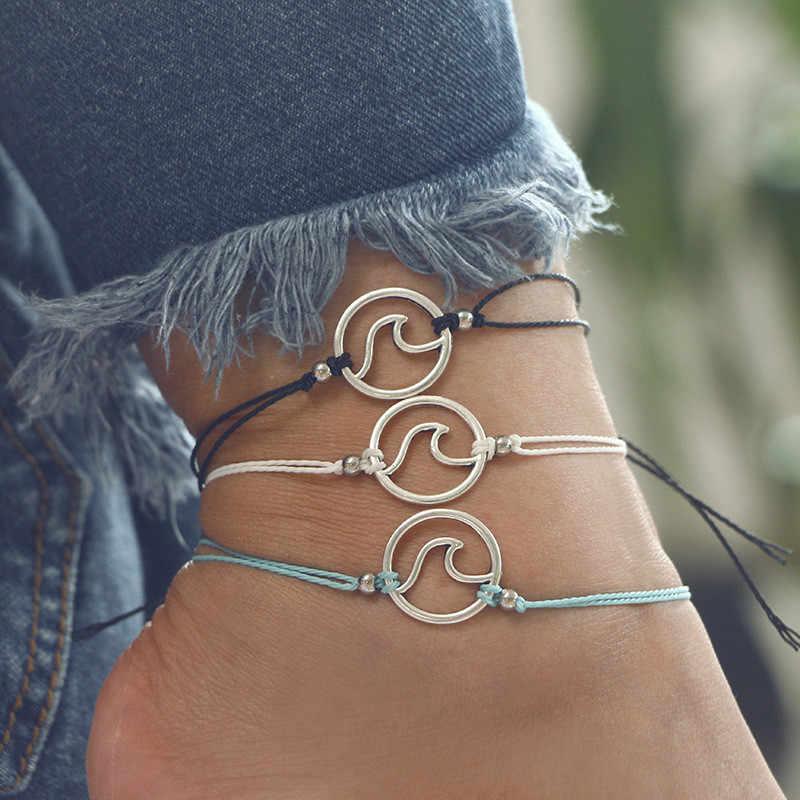מינימליסטי חלול גל Anklets צמידי לנקבה רב צבע חבל צמידי קרסול ילדה מסיבת קיץ חוף תכשיטים