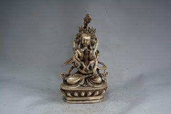 Talla de plata antigua rara -- estatua de Buda feliz, mejor colección y Adorno, envío gratis