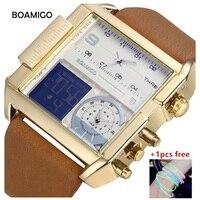 Watch Men Luxury Brand BOAMIGO Dual Time Zone Men S Watches Quartz Leather Square Sport Reloj