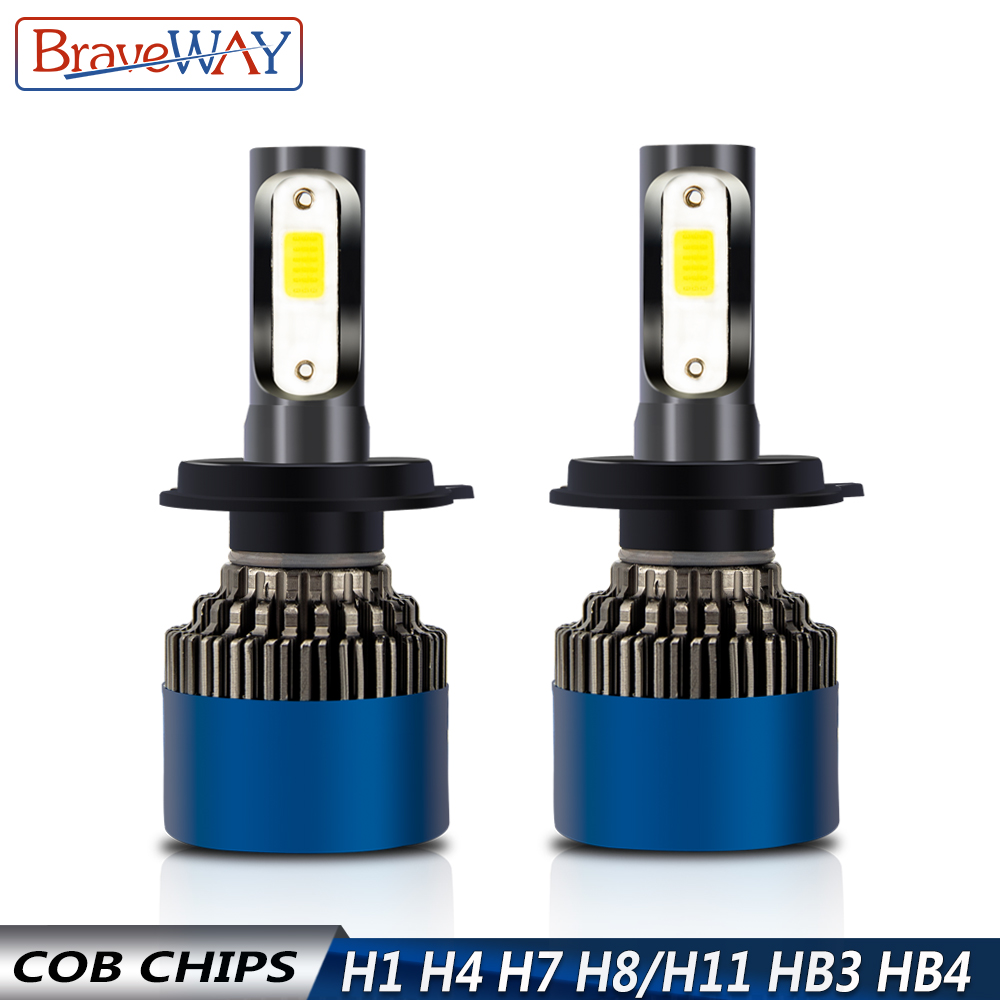 BraveWay 12V LED Bulbs for Car H7 H11 H1 HB3 HB4 9005 9006 H4 Motorcycle Headlight