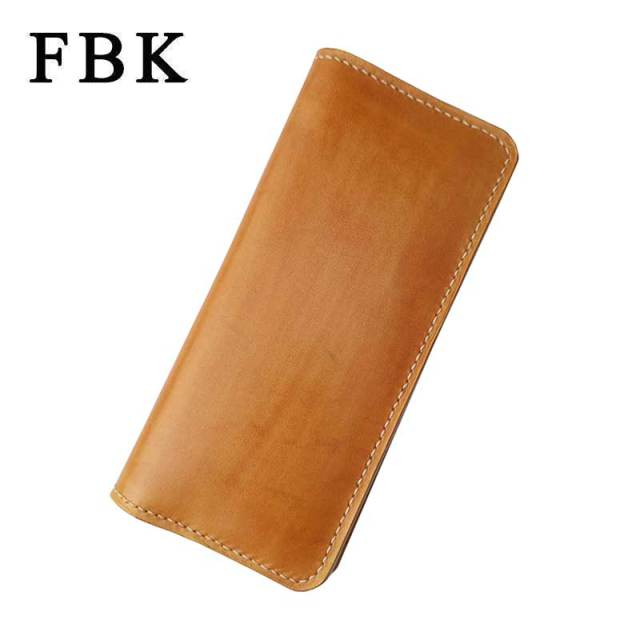 FBK 100% Genuine Leather Handmade Large Capacity Original Long Women Wallets Man Wallet Money Clip Womens Purse Fashion Vintage