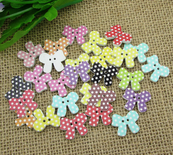 50Pcs Mixed Wood Bowknot Dot Sewing Buttons For Kids Clothes Scrapbooking Decorative Botones Crafts Needlework DIY Accessories