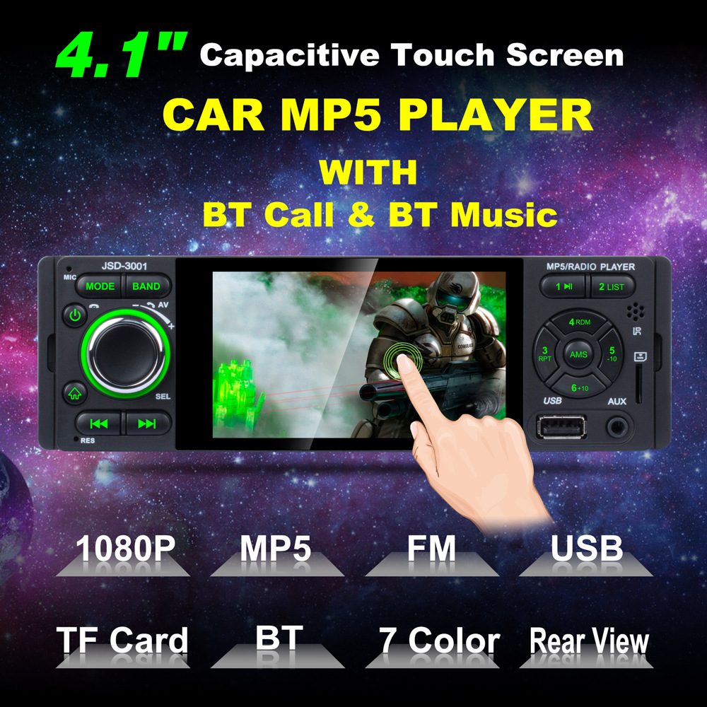Multifunction JSD 3001 TFT 1080P Touchscreen In dash Radio Wireless Remote Control 4 1 Car Stereo