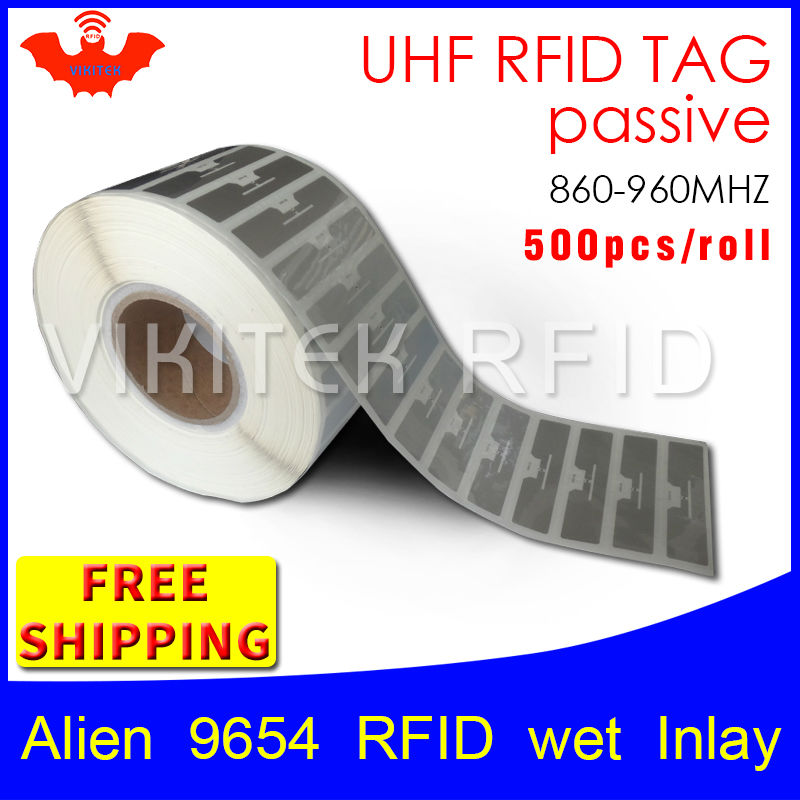 RFID tag UHF sticker Alien 9654 EPC 6C wet inlay 915mhz868mhz860-960MHZ Higgs3 500pcs free shipping adhesive passive RFID label 500pcs rfid one off coated paper wristbands tag epc gen2 support alien h3 chip used for personnal management