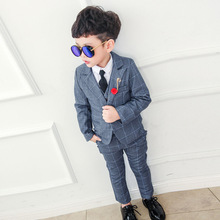 2019 Boy Blazers Suit Boys Suits Set Formal Suit for Kids Boy Birthday Dress Shirts Wedding Toddler Blazer(Blazer+Vest+Pant) brand wedding suit for flower boys campus student formal dress gentleman kids blazer shirt pant bowtie 4pcs ceremony costumes
