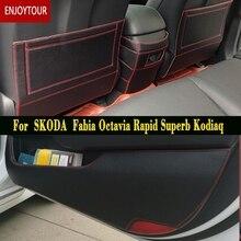 Car  Pads Front Rear Door Seat Anti-kick Mat Accessories For Skoda Fabia Octavia Rapid Superb Kodiaq YETI B6 B8