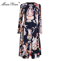 MoaaYina Fashion Designer Runway Dress Spring Autumn Women Long sleeve Angel Floral Print Vintage Elegant Dress High Quality