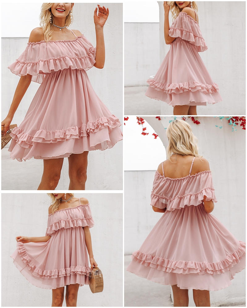 Affogatoo Elegant ruffle off shoulder strap summer pink dress women Casual chiffon pleated blue dress Loose holiday short dress 3