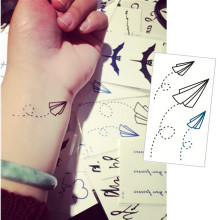 Paper Airplane Flash Tattoo Hand Sticker 10.5x6cm Small Waterproof Henna Beauty Temporary Body Tattoo Sticker Art FREE SHIPPING