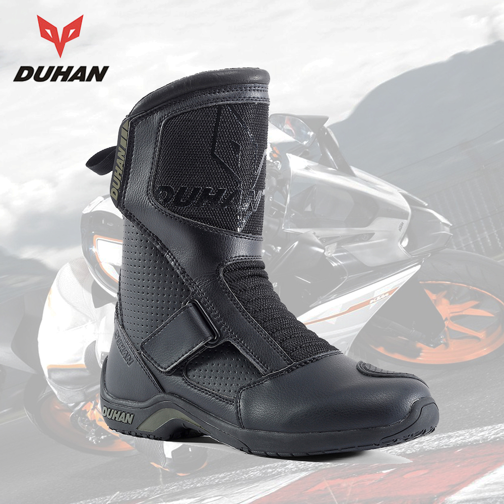 DUHAN Motorcycle Boots Men Superfiber Motorcycle Road Racing Motorcycle Shoes Motorbike Shoes Moto Motocross Riding Boots motorcycle riding shoes men s waterproof spring anti falling knights boots cross country racing shoes road locomotive boots
