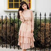 BGTEEVER Vintage col montant Floral imprimé femmes robe en cascade volants femme en mousseline de soie robe 2019 dames à lacets Vestidos