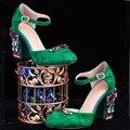 Mujeres Zapatos de Tacón Alto de Cuero de Gamuza verde de Diamantes de Lujo Chunky de Tacón Alto Tobillo Correa Zapatos de La Boda de dama de Honor 2017 de Primavera