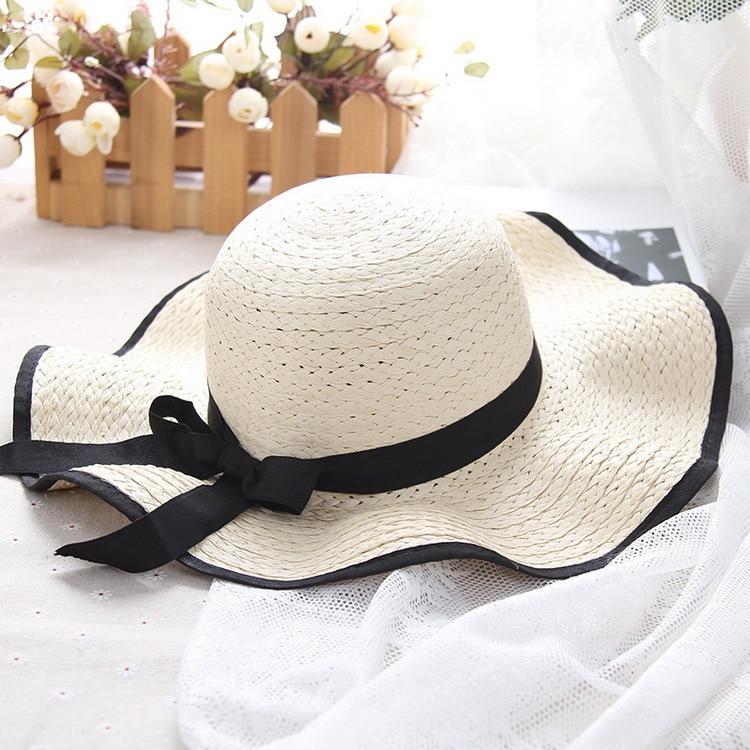 Chapeaux de soleil pour Femmes avec Protection Uv Large Adulte Bord Occasionnel paille Chapeau Mou Ladybro Plage Cap pour Dames De Mariage Chapeau 2018