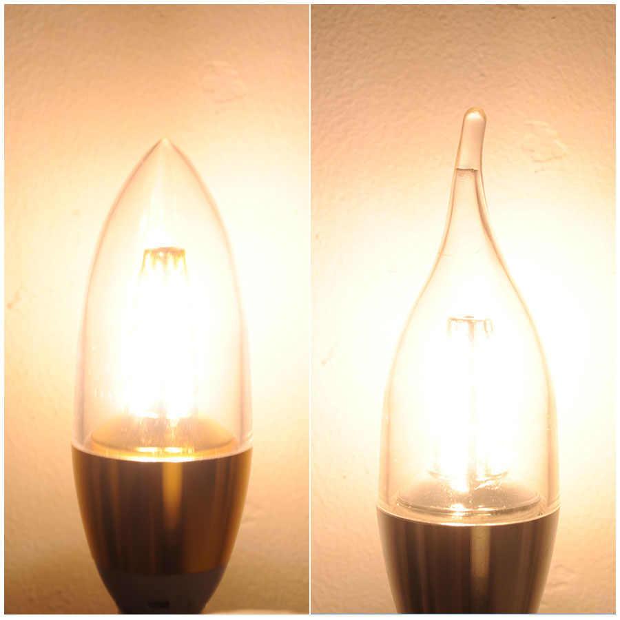 مصباح بالشمع LED E14 9 واط 5 واط غلاف من الألومنيوم مصباح ليد 110 فولت 220 فولت LED مصباح E14 الذهبي الفضة كول دافئ الأبيض لامبارا Zarovka مصلحة الارصاد الجوية 5730