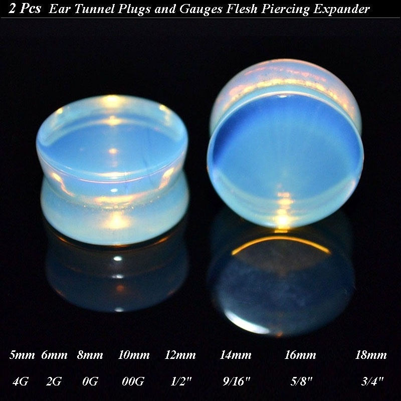 Wood Flesh Tunnel Inlay Piercing Opalite Ear Plug