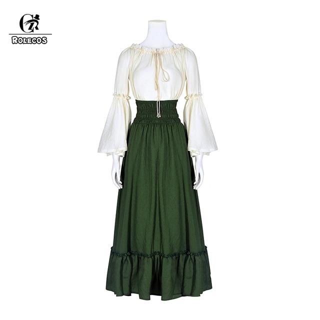 ROLECOS Renaissance Women Costume Retro Victorian Women Outfit Gothic Ball  Gowns Sweet Dress Classic Lolita Shirt Long Skirt