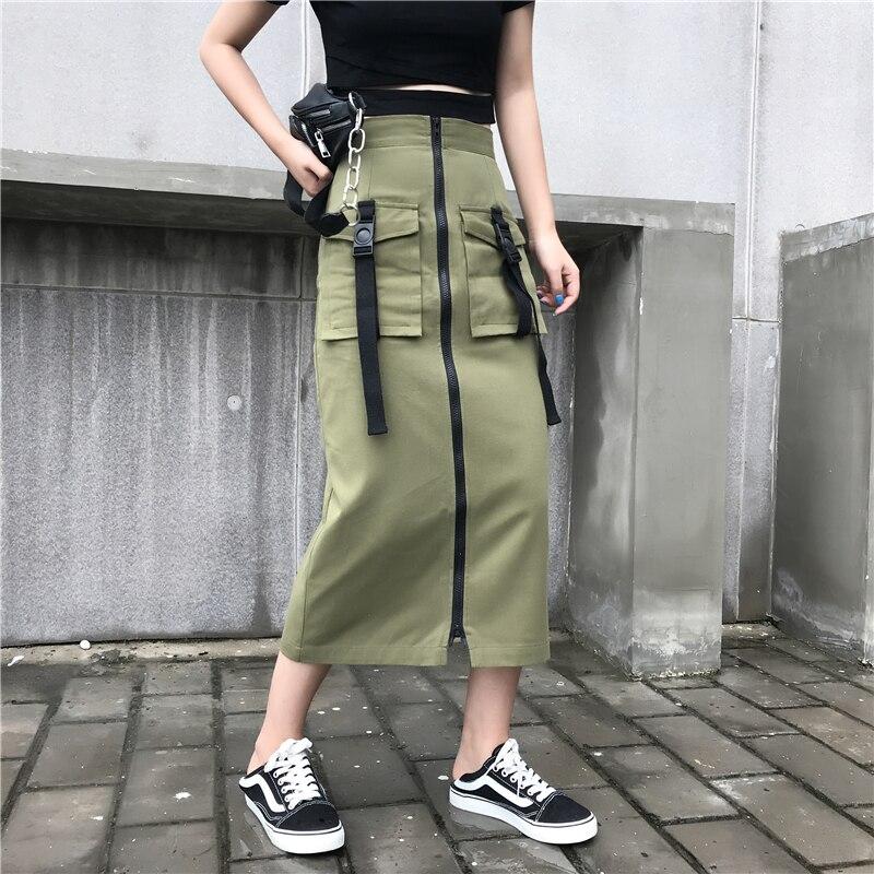 Moda Casual Algodón Mujer Mujeres 2018 Alta Las De Largo Armygreen Color Getsring Faldas Falda Recto Vintage Cintura Nueva Aq7WO