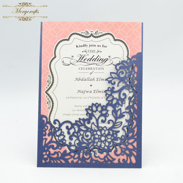 Royal Blue Centerpieces Flower Pattern Laser Cut Pocket Wedding Invitation Cards