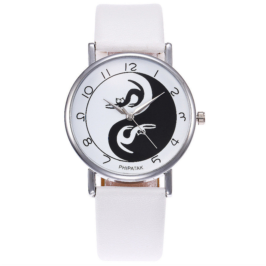 Yin Yang Black & White Cat Watch