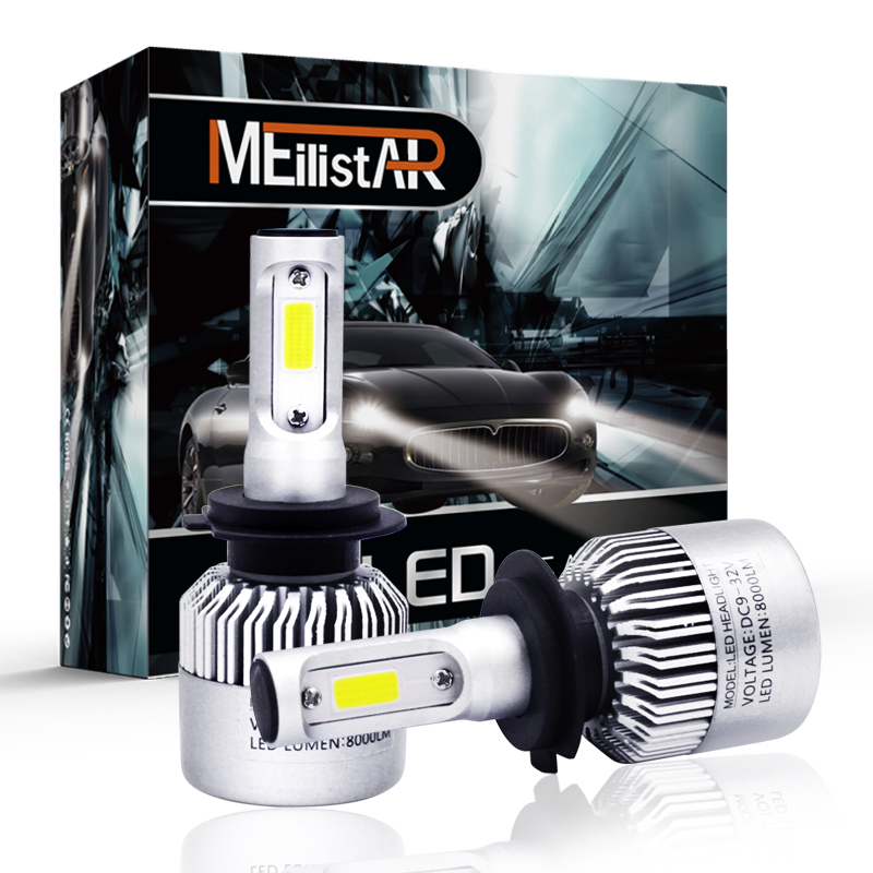 Meilistar COB H7 LED Headlight 72W 8000LM All In One Car LED Headlights Bulb Headlamp Fog Light 12V Auto Replacement Parts 6500K 2pcs set 72w 7200lm h7 cob led car headlight headlamp auto lamps led kit 6000k headlight bulb light car headlight fog light