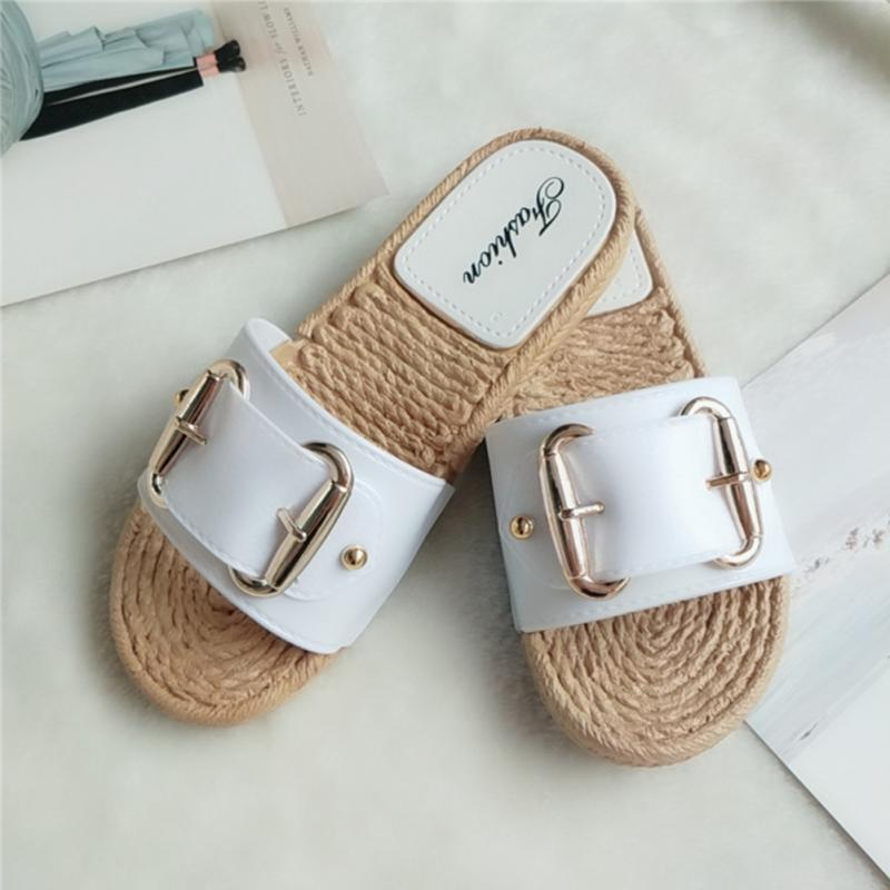 Fashion Flax Buckle Home Slippers Women Indoor Shoes Ladies Outdoor Mules Slippers Summer Beach Sandals Slides Zapatos Mujer 5