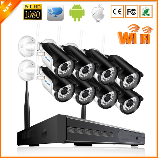 BESDER 8CH Security System NVR Kit WiFi 1080P P2P Motion Detect Surveillance CCTV Wireless System With Bullet Outdoor IP Cameras