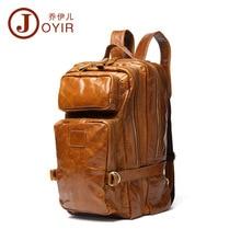 JOYIR Genuine Leather Man Bags Really Cowhide Backpacks Fashion Solid Double Shoulder Bag Mochila Escolar School Laptop Bag 13″