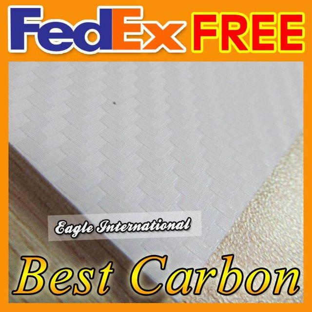 PVC White 3D Diagonal Car Carbon Fiber Sticker Vinyl Film Wrap Sheet Twill-Weave Retail 1.52 x 10m High Quality Free Shipping