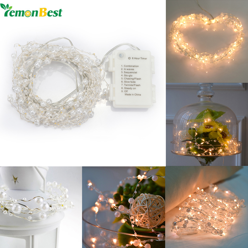 6m 60 LED Pearl Copper Wire String Light Warm White Fairy Lights for ...