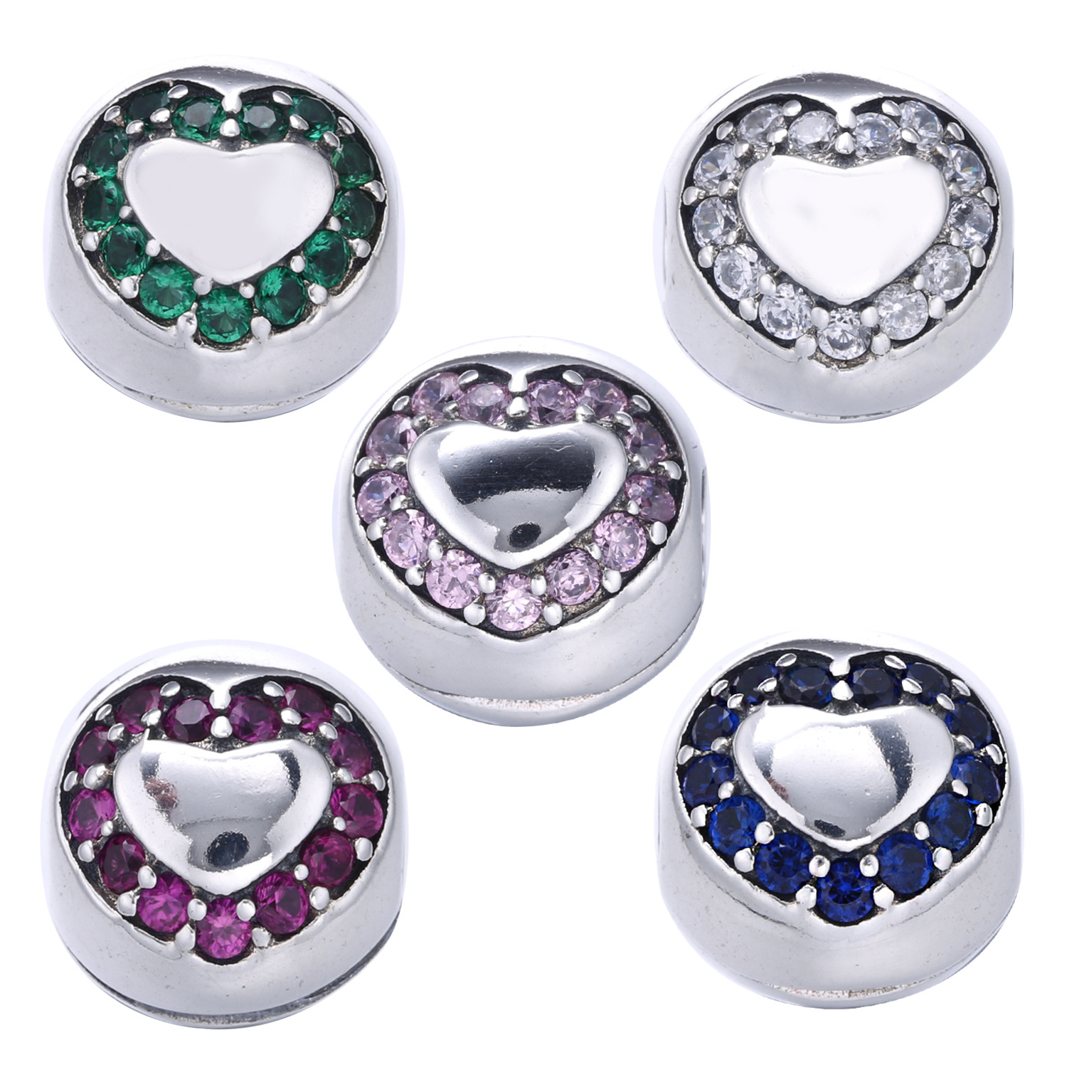 Authentic 925 Sterling Silver Stopper Pave Heart Purple CZ Clip Beads Fit Original Pandora Charms Bracelets DIY Jewelry Making