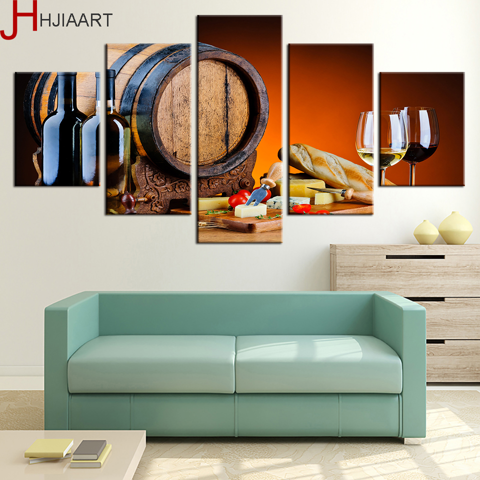 2017 Wall Art Fruit Grape Red Wine Glass Picture Art For: Canvas Paintings Wall Art Home Decor Framework 5 Pieces