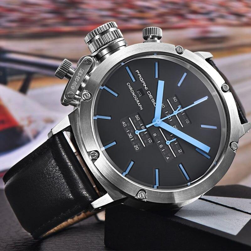 2019 pagani design esportes relógios masculinos moda multifunções mergulho cronógrafo quartzo relógios masculino relógio de couro - 5