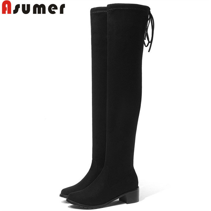ASUMER over the knee boots women suede leather thigh high boots autumn winter boots elegant shoes woman round toe big size 34-43ASUMER over the knee boots women suede leather thigh high boots autumn winter boots elegant shoes woman round toe big size 34-43