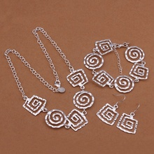 Silver plated noble elegant refined luxury ornate fashion classic square threaded three piece hot selling silver jewelry S431