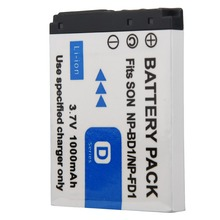 1pc 3.7V 1000mAh NP-BD1/NP-FD1 Lithium ion Rechargeable Battery for Sony T2 T200 T70 T700 T300T77 T500 T90 T900 TX1