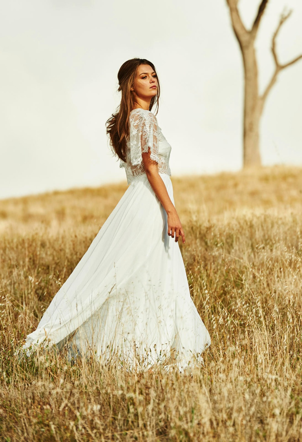8 completely gorgeous crop top wedding gowns crop top wedding dress Christos Costarellos