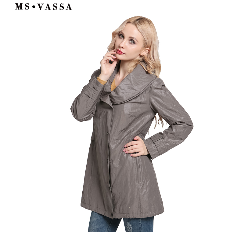MS VASSA kobiety płaszcze 2019 nowych moda prochowce szal kołnierz wiosna panie jesień klasyczny styl plus rozmiar 6XL 7XL odzież wierzchnia w Trencze od Odzież damska na  Grupa 3