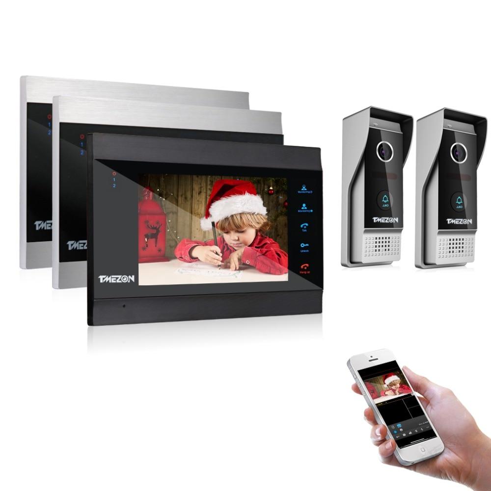 TMEZON 7 Inch Wireless/Wifi Smart IP Video Door Phone Intercom System With 3 Night Vision Monitor + 2 Rainproof Doorbell Camera