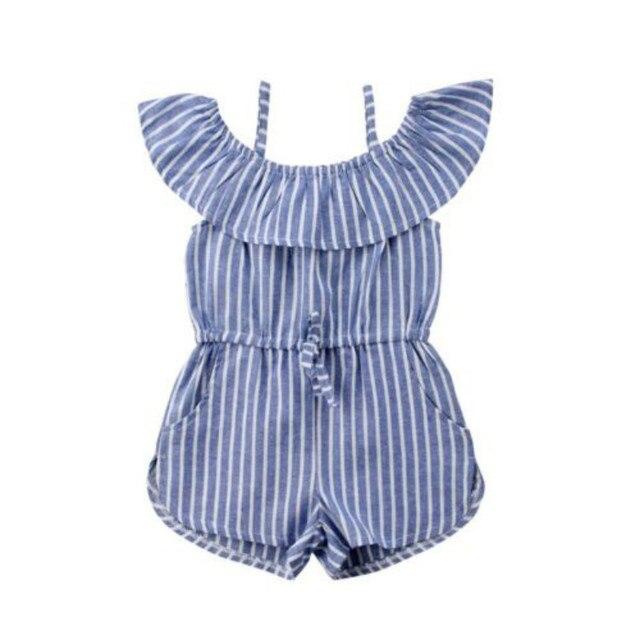 Verão Da Criança Do Bebê Dos Miúdos Meninas Listra Fora Do Ombro plissado Macacões Playsuit