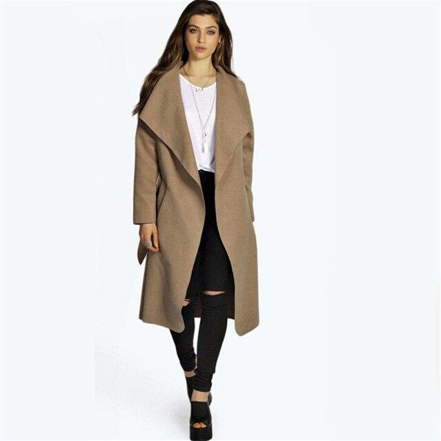 2017 Fashion Women Trench Coat Wide Lapel Belt Women Long Trench ...