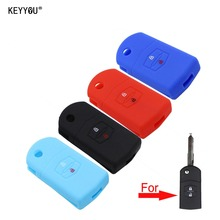 KEYYOU 2 Buttons Silicone Remote Fob Folding Flip Key Case Cover for Mazda M2 3 5 M6 8 Speed CX-5 CX7 CX-9 MX-5 RX