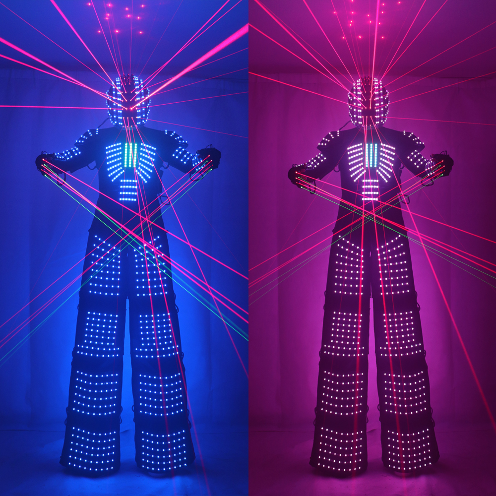 Traje LED Robot Costume led Clothes Stilts Walker Costume LED Suit Costume Helmet Laser Gloves CO2 Gun Jet Machine