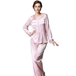 Image 4 - Daeyard נשים משי פיג מה סטי אביב קיץ סתיו נשי תחרה רקום סאטן פיג ארוך שרוול הלבשת Loungewear